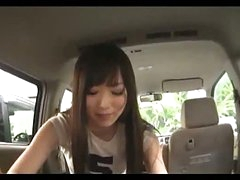 Asian Girl Sucking Chap Cock Giving Handjob Cum To Hand In The Back Of The Car