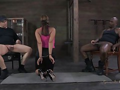 She's sexually broken in a way that she deserves. Ava always liked to suck a cock and this time she does it blindfolded. Two males are sitting on chairs, one white and the other one black. She sucks them one at the time, not knowing who is who. Perhaps the taste of cum will make a difference.
