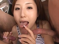 Sexy Asian mama in heels gets stripped and fucked on couch