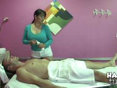 A Happy Tug meat massage by a very busty Asian babe